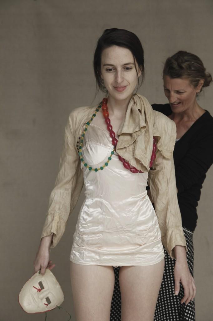 Jacqui prepares the model, Sian